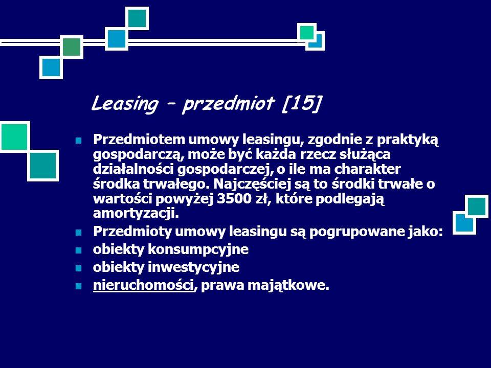 Leasing – przedmiot [15]